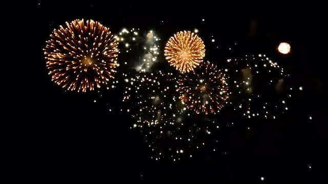 Beautiful Fireworks Exploding At Night: Stock Video