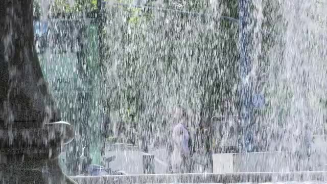 Water Falling From Outdoor Fountain : Stock Video