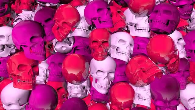 Pink Skulls Background: Stock Motion Graphics