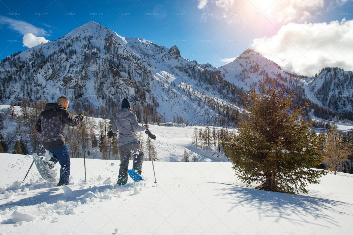 Running In Snowshoes: Stock Photos