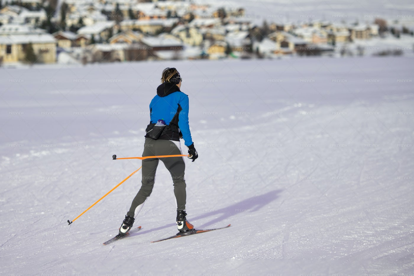 Woman Practicing  Country Skiing: Stock Photos