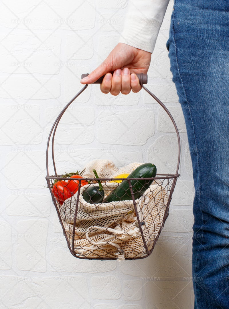 Woman With Basket: Stock Photos