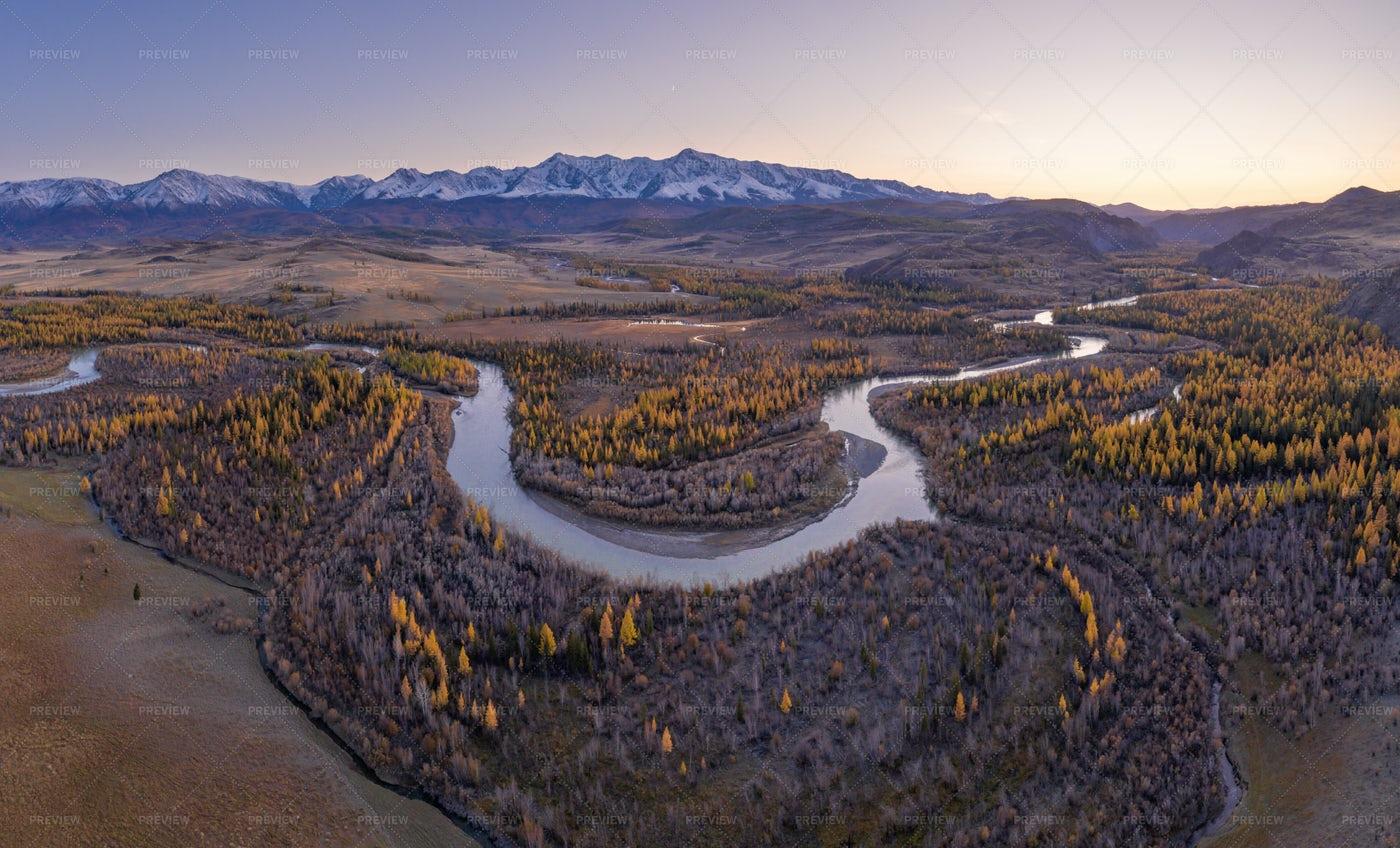 Kurai Steppe And Chuya River: Stock Photos
