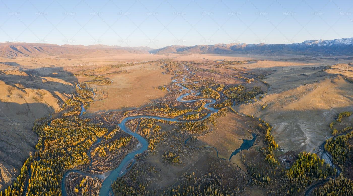 Kurai Steppe And River: Stock Photos