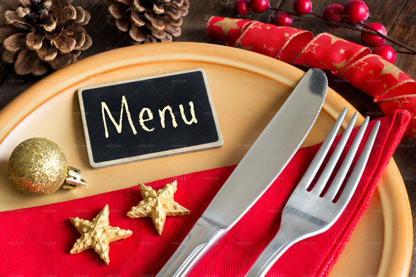 Table Setting With Chalkboard: Stock Photos