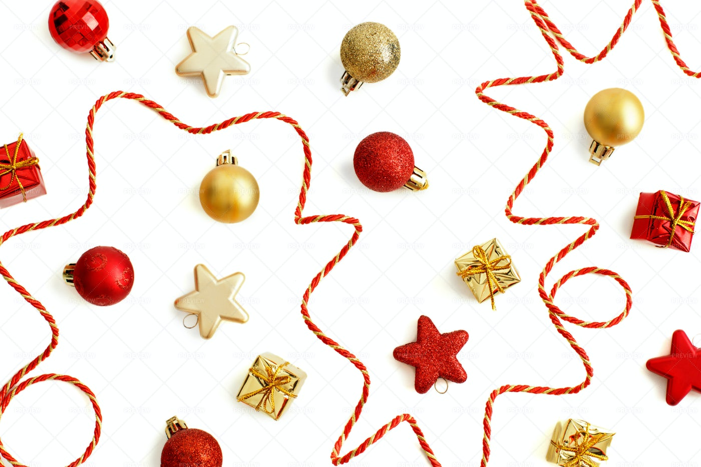 Golden And Red Christmas Decorations: Stock Photos