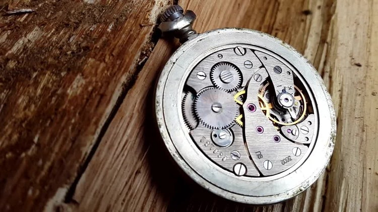 Clock Mechanism On Wood: Stock Video