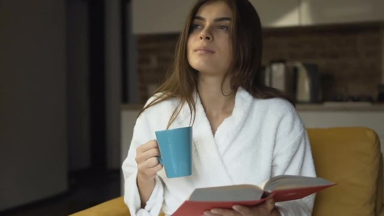 Relaxing Morning Coffee While Reading : Stock Video