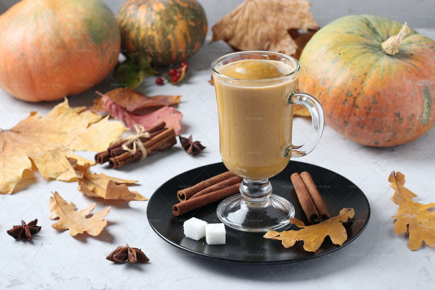 Pumpkin Latte With Spices: Stock Photos