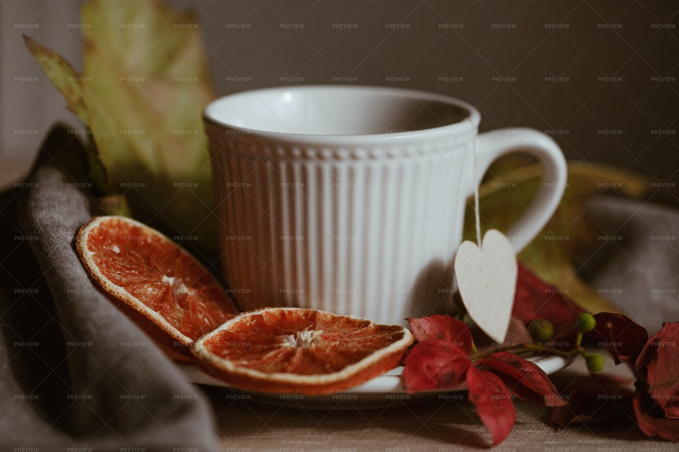 Orange Slices With Tea: Stock Photos