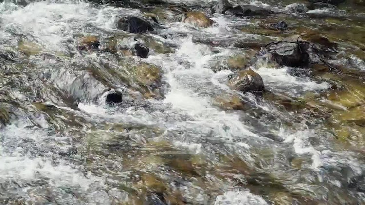 River Flows Over Rocks: Stock Video