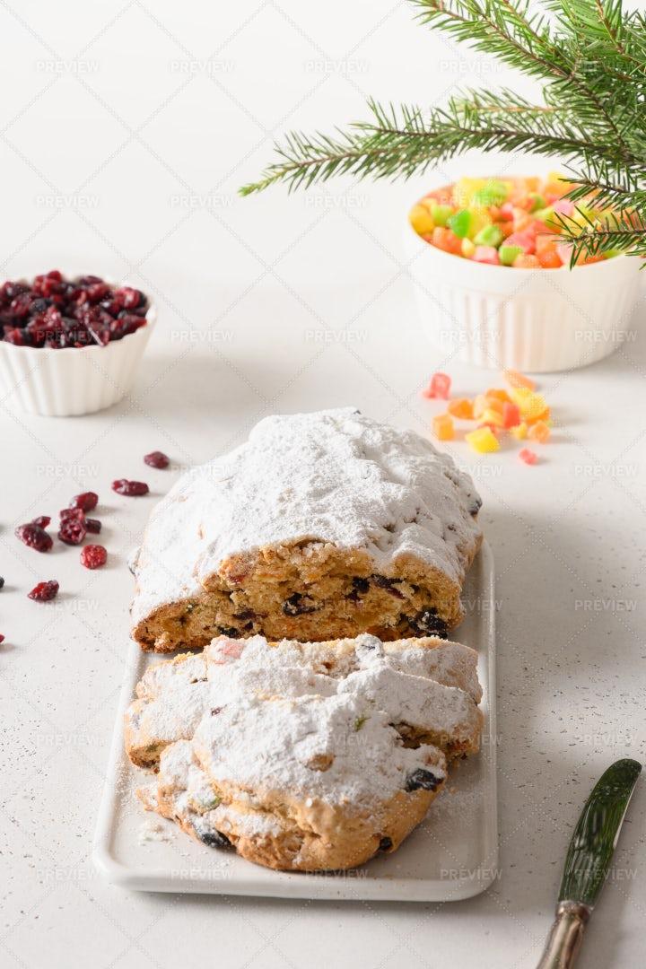 Christmas Traditional Stollen: Stock Photos