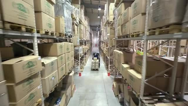 Shelves Full Of Cardboard Boxes: Stock Video