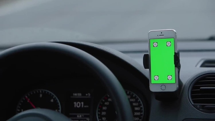 Green Screen Phone In Car: Stock Video