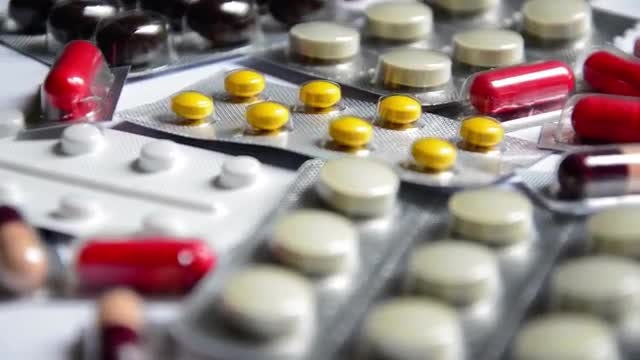 Hoard Of Prescription Pills Rotating : Stock Video