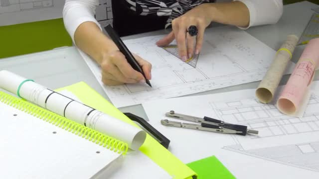Woman Architect At Work: Stock Video