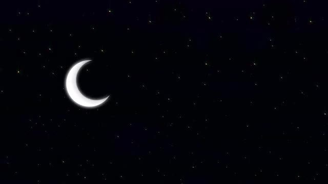 Crescent Moon On A Starry Night: Stock Motion Graphics