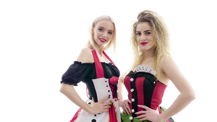 Two Girls In Poker Costumes: Stock Video