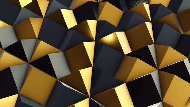 Black and Gold Rhombic Pattern Wall 3: Stock Motion Graphics