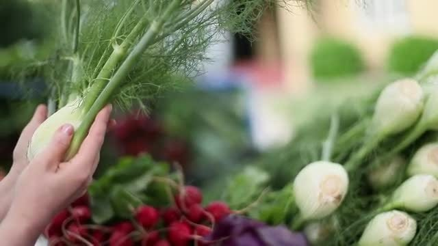 Woman Holding Green Onion: Stock Video