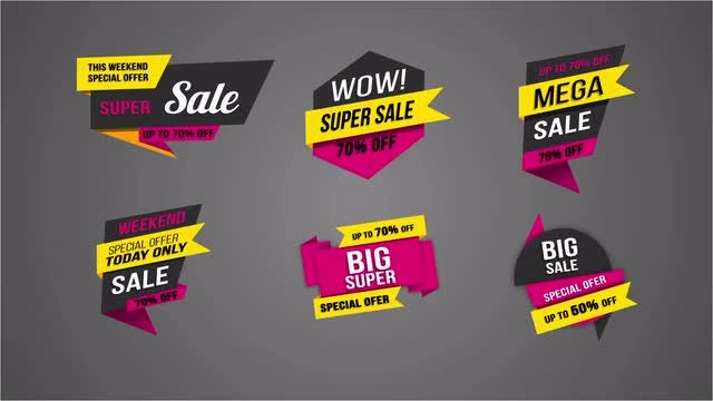 11 Flat Sale Label V3: After Effects Templates