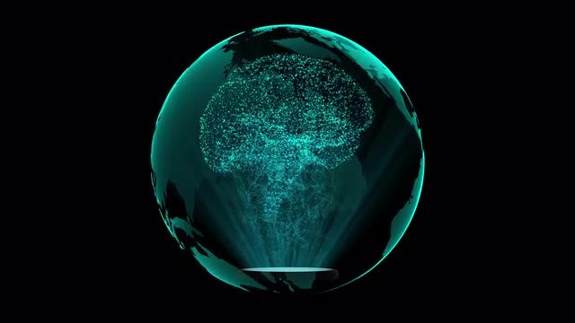 Holographic Brain In Glass Globe: Stock Motion Graphics