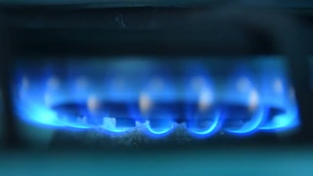 Gas Cooker With Blue Flames: Stock Video