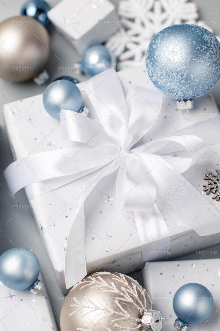 Christmas Present With A Bow: Stock Photos