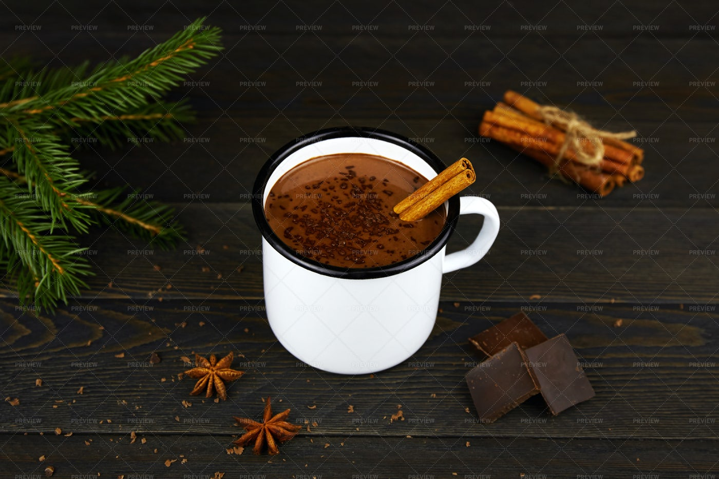 Hot Chocolate With Cinnamon: Stock Photos