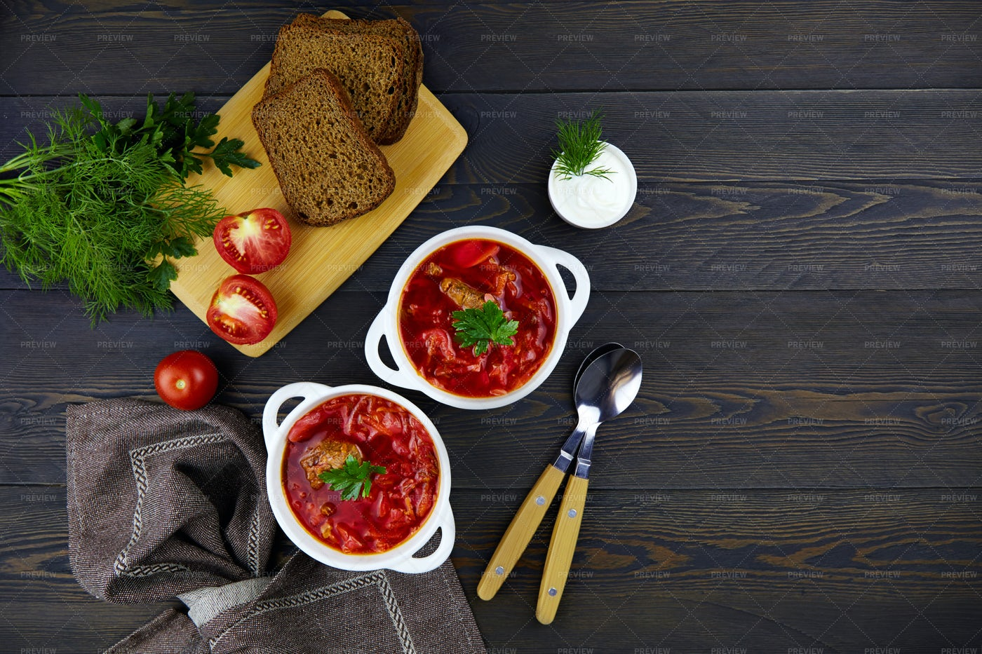 Russian Borscht With Beetroot: Stock Photos