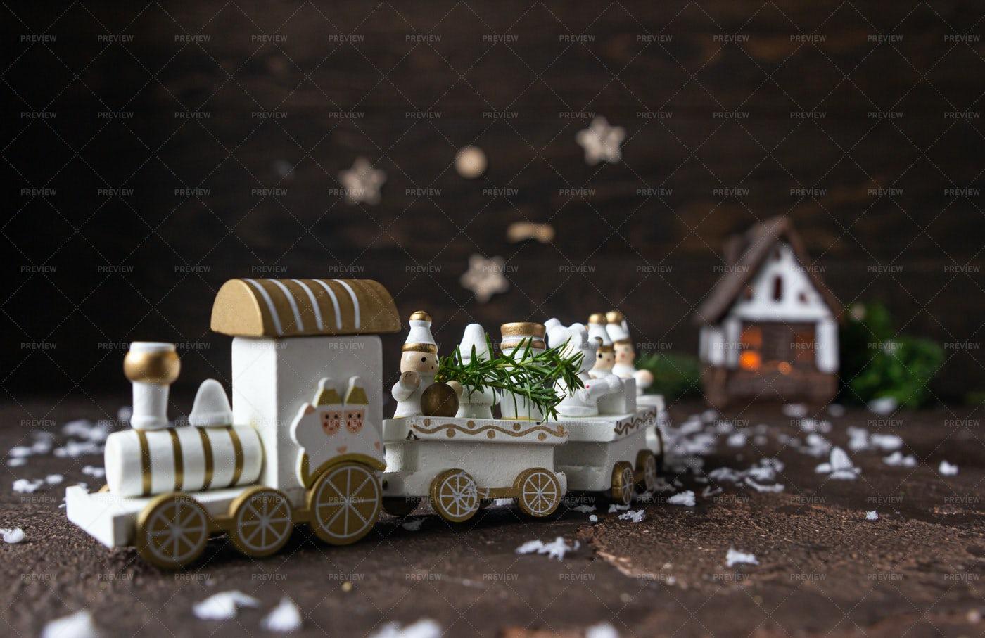 Festive Christmas Wooden Train: Stock Photos
