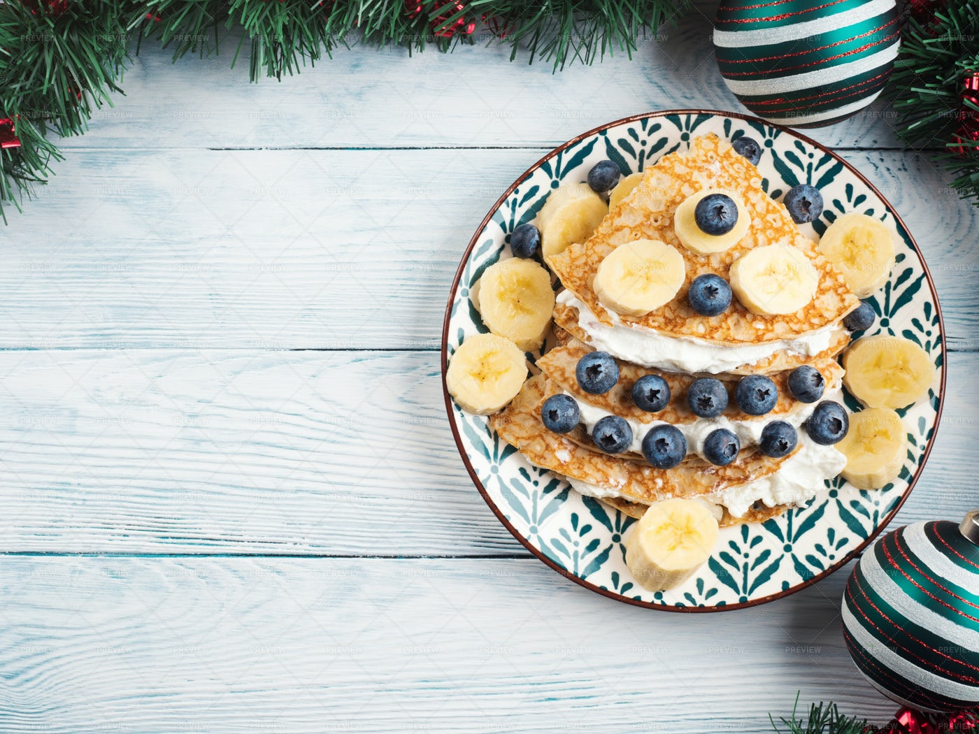 Crepes Shaped In Christmas Tree: Stock Photos