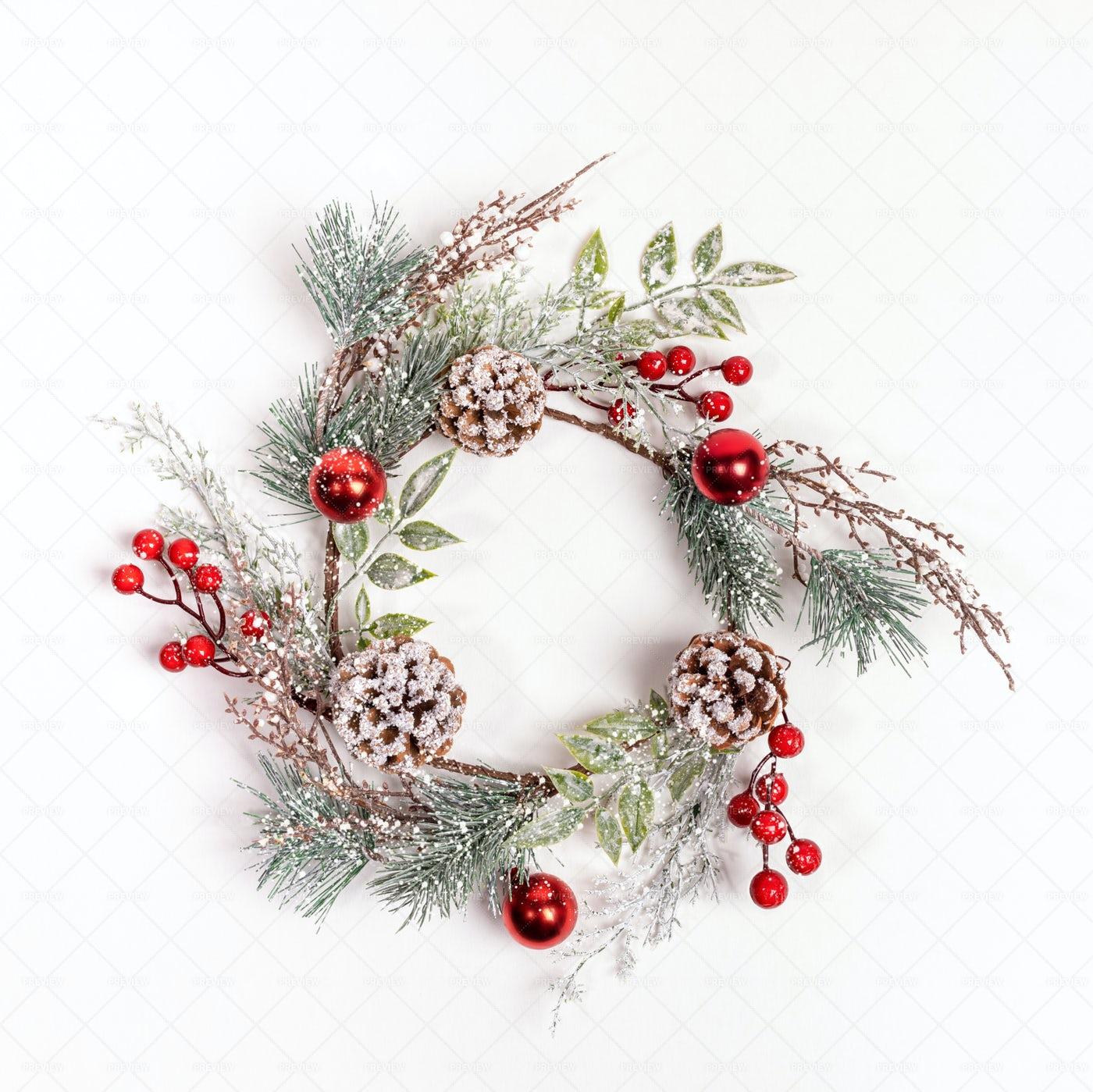 Handmade Reusable Christmas Wreath: Stock Photos
