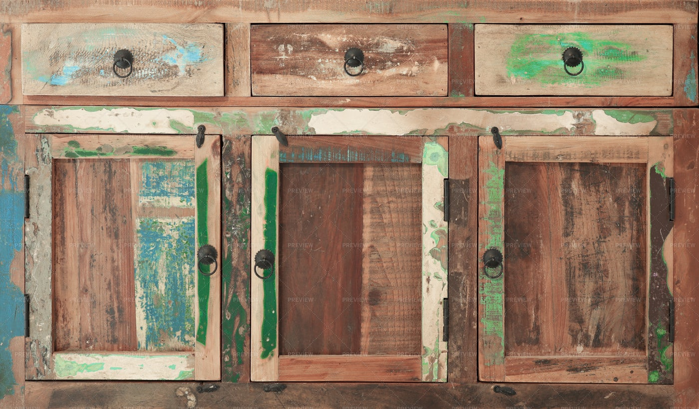 Old Stained Wooden Furniture: Stock Photos