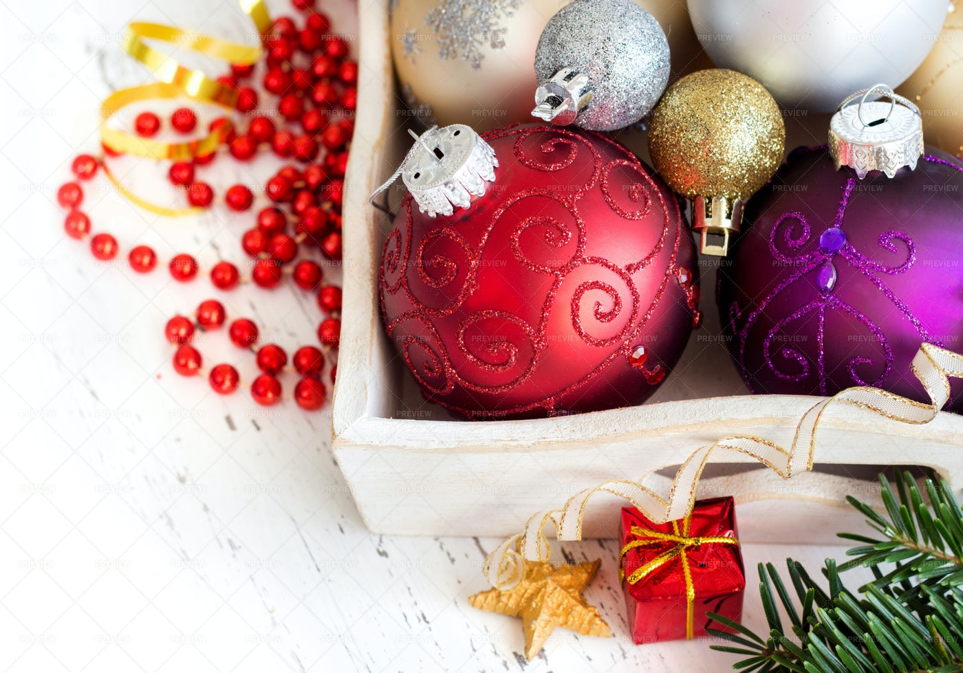 Wood Tray With Christmas Decorations: Stock Photos