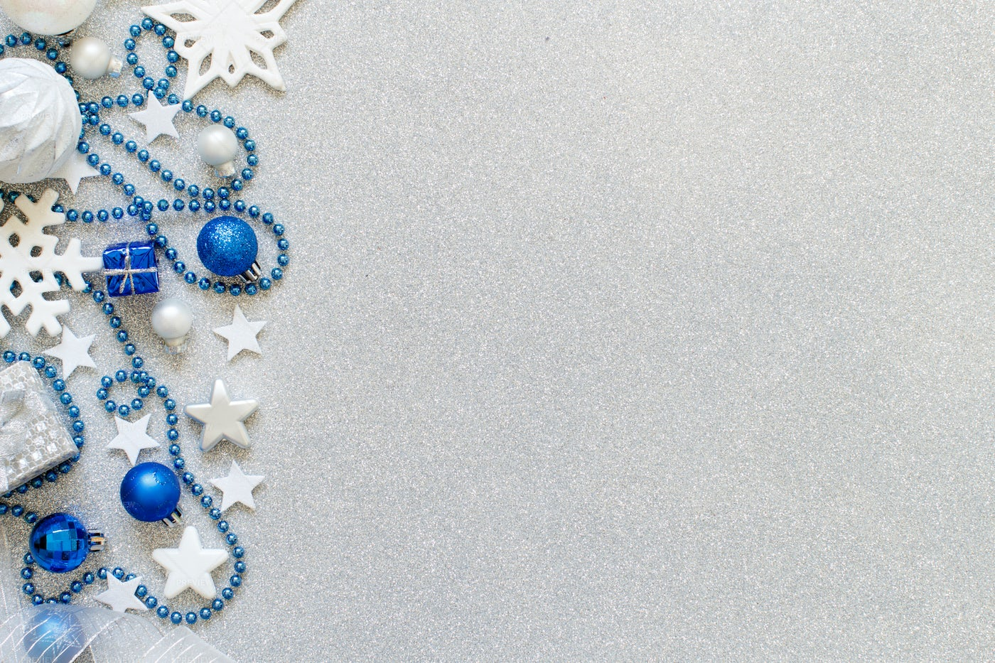 Silver And Blue Christmas Decorations: Stock Photos