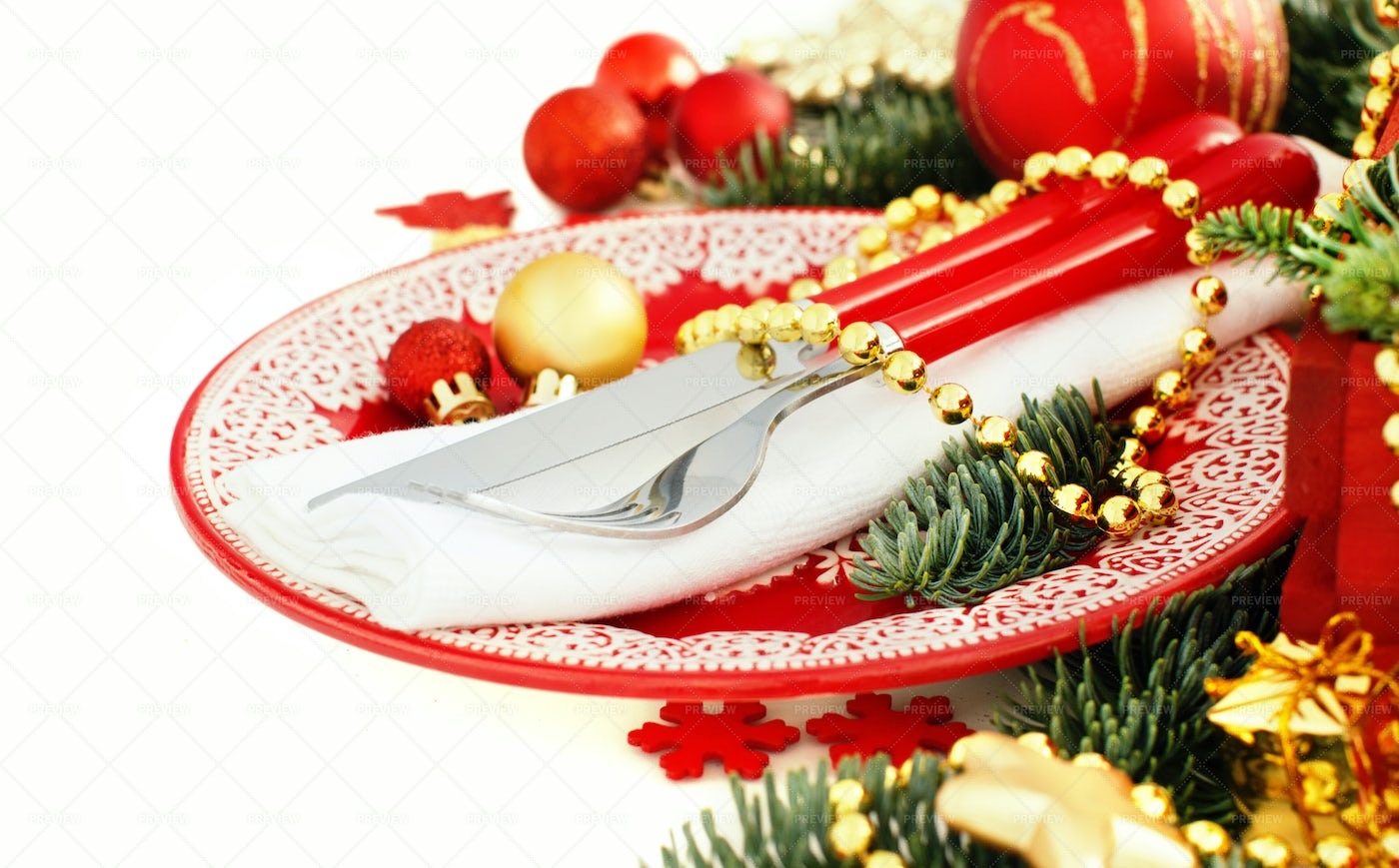 Red And Golden Table Setting: Stock Photos