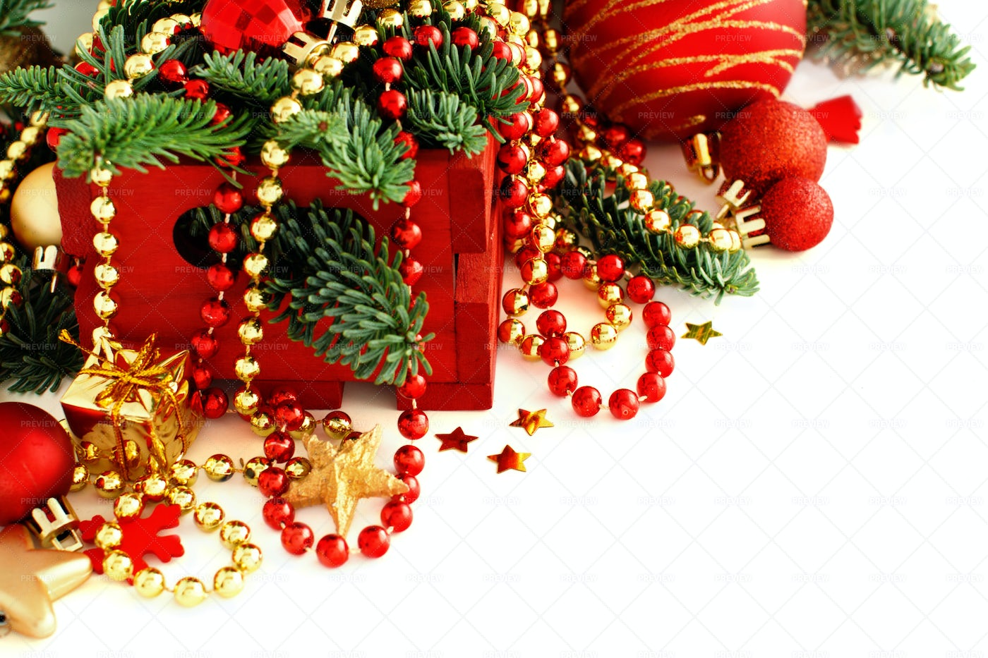 Red And Golden Christmas Decorations: Stock Photos