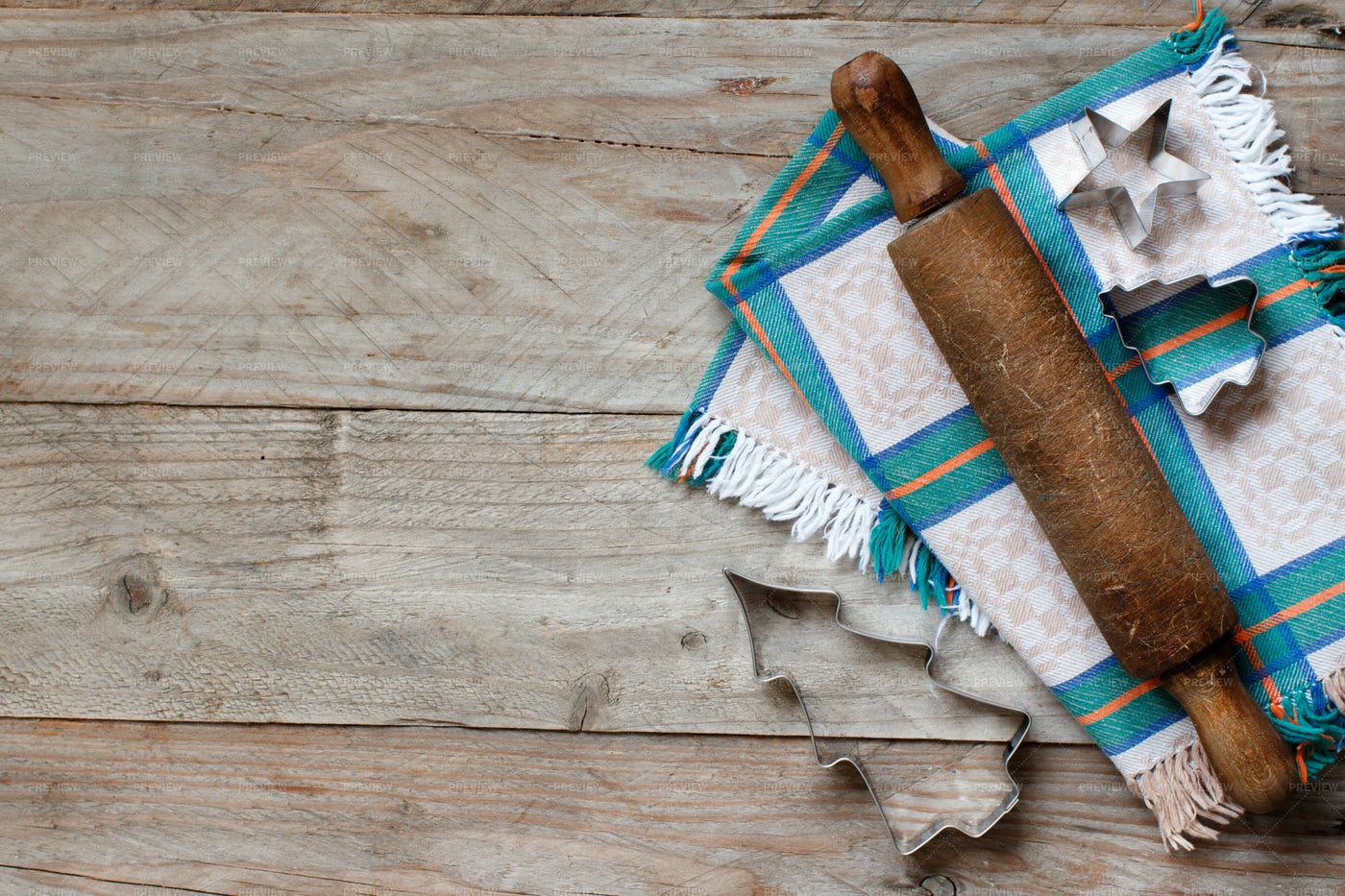Cookie Cutters And Rolling Pin: Stock Photos