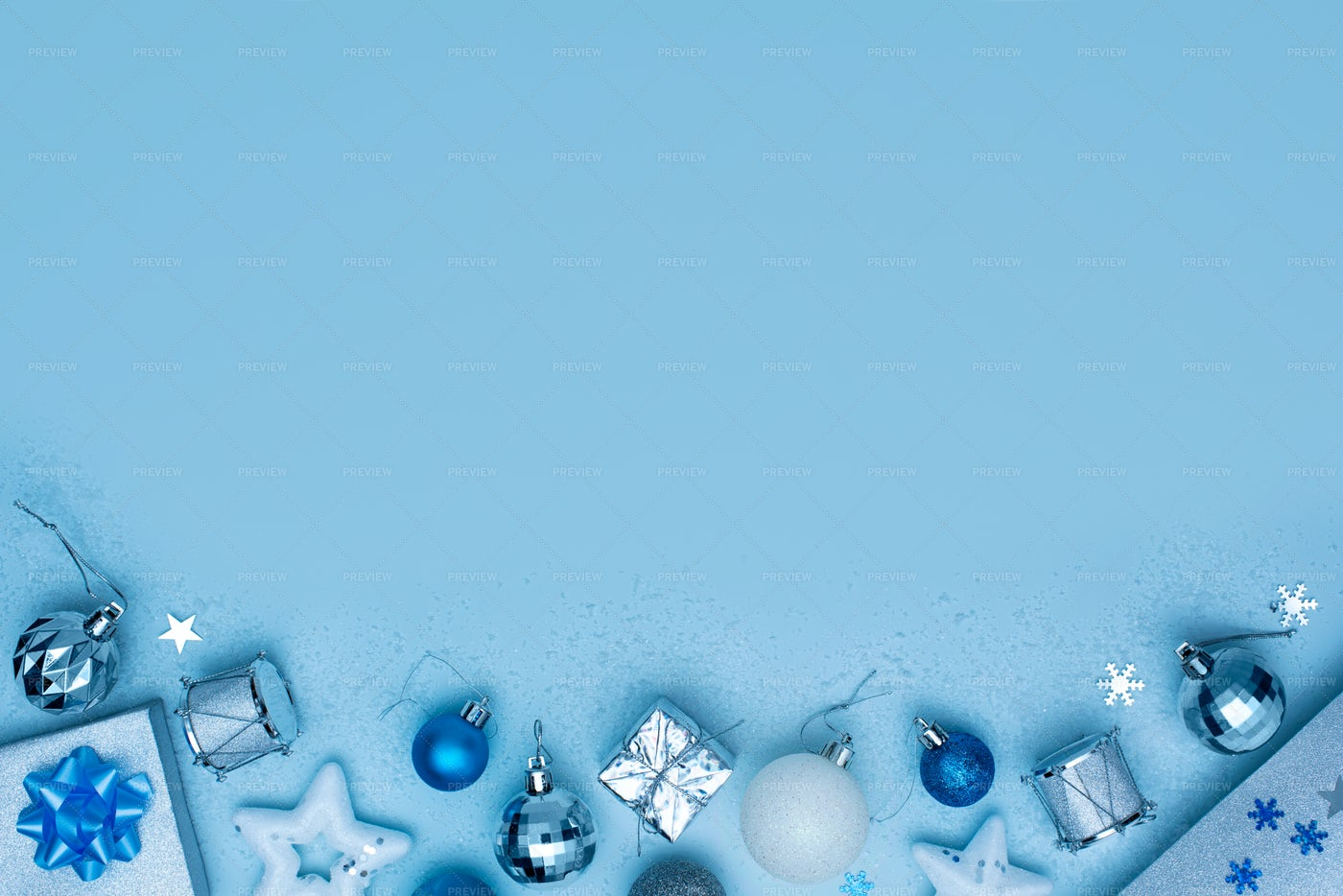 Blue And Silver Christmas Background: Stock Photos