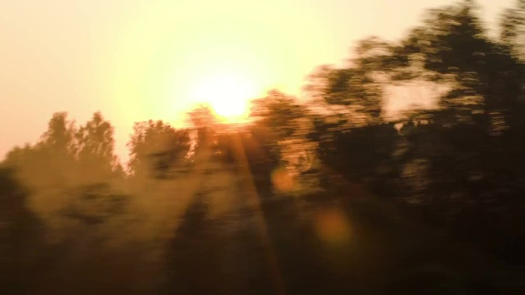 Passing Landscape At Sunset: Stock Video