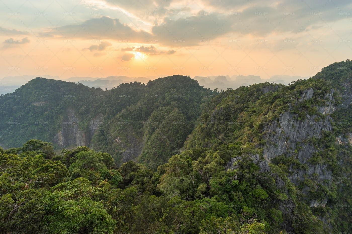 Asian Mountains At Sunset: Stock Photos