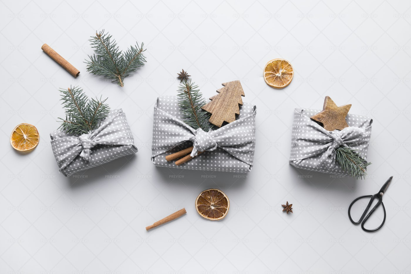 Gifts Wrapped In Textile: Stock Photos