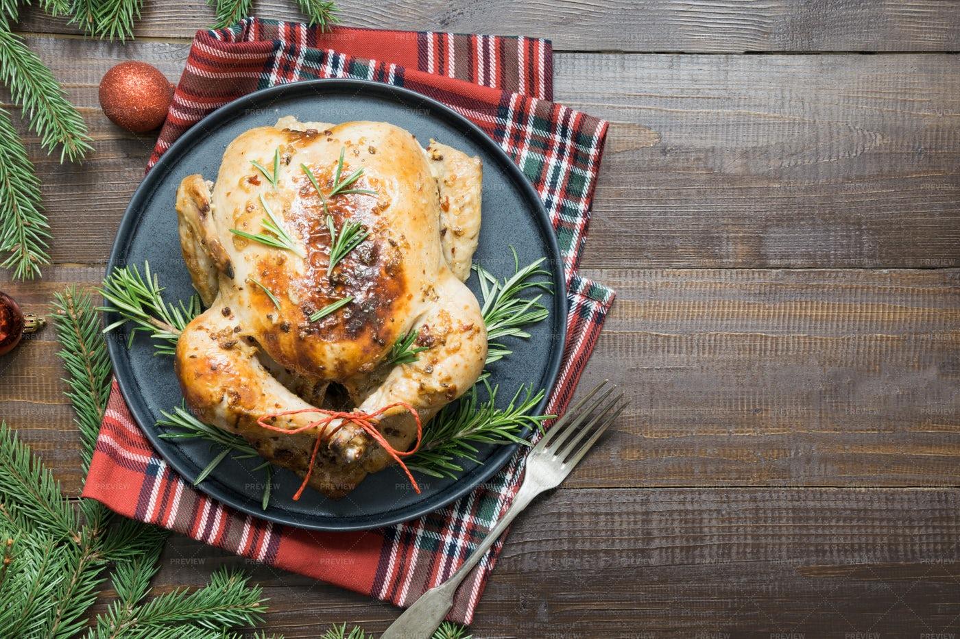 Christmas Roasted Chicken: Stock Photos