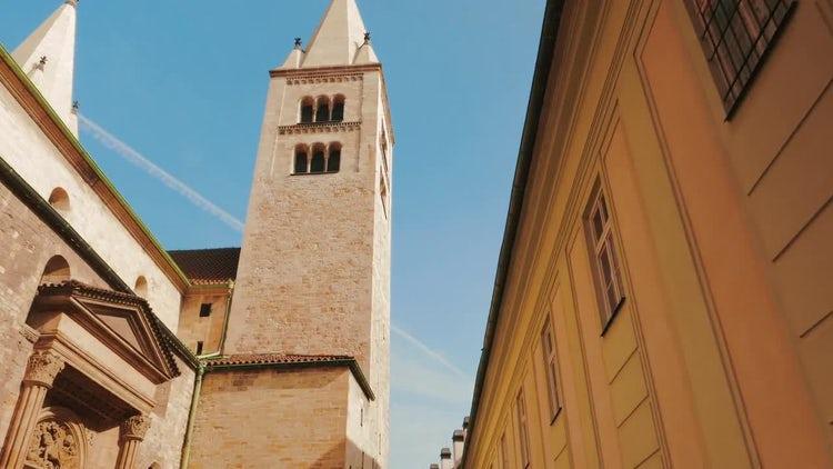 Walking Down A Prague Castle : Stock Video