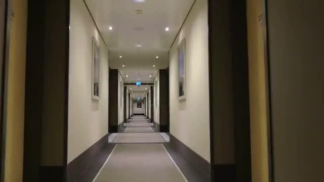 POV Of A Hotel Hallway: Stock Video