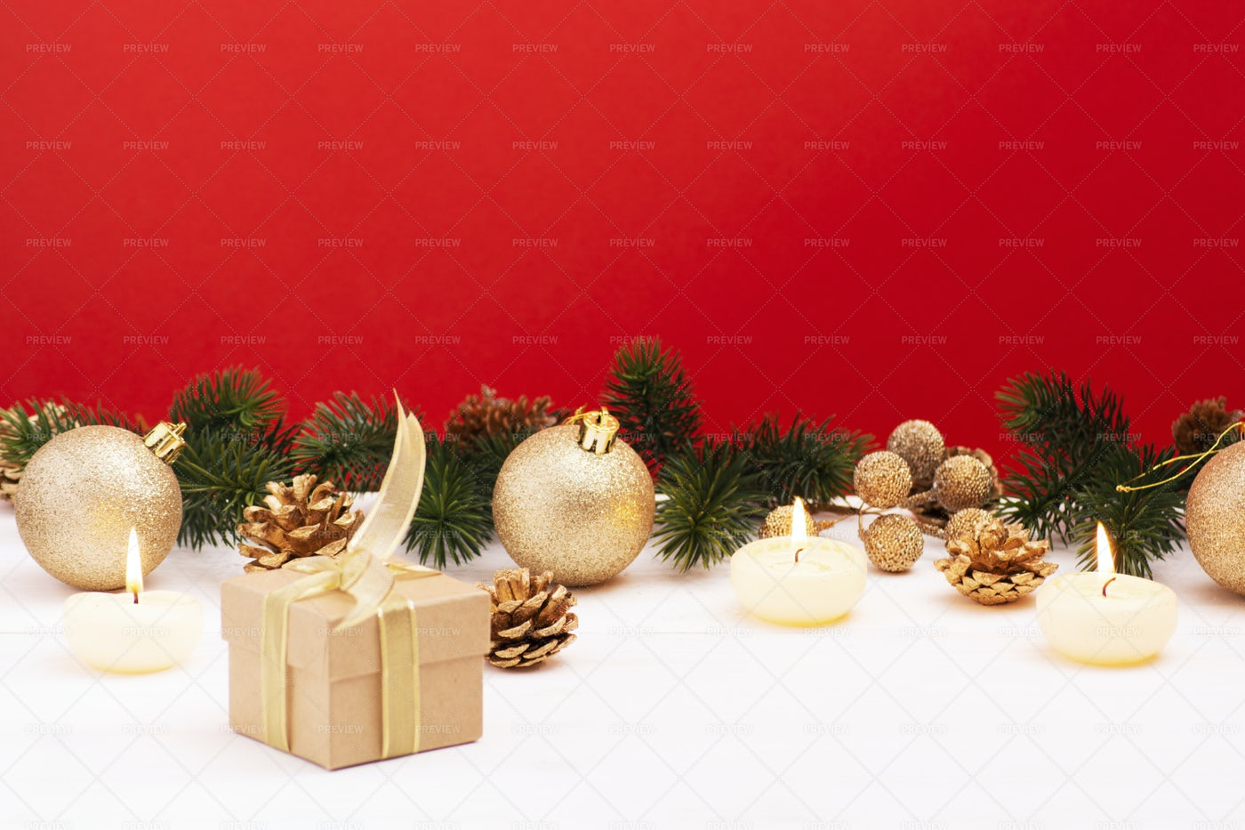 Christmas Composition On Red Background: Stock Photos