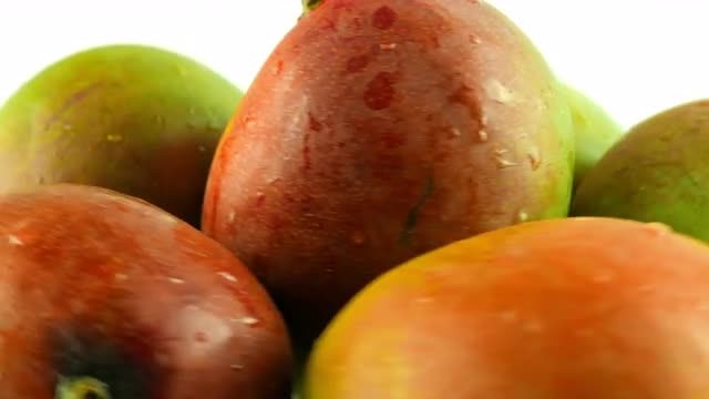 Stockpile Of Mangoes On Display: Stock Video