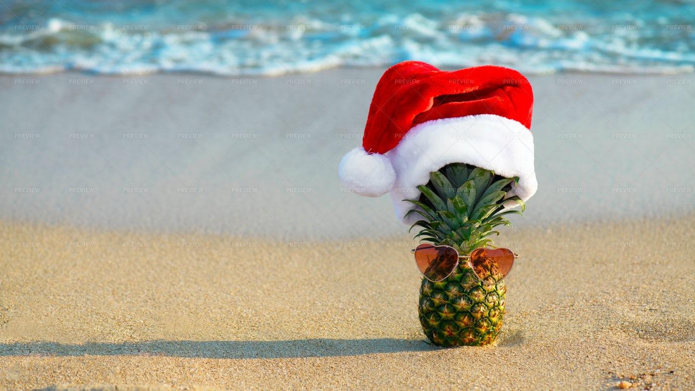 Pineapple In Santa Hat: Stock Photos