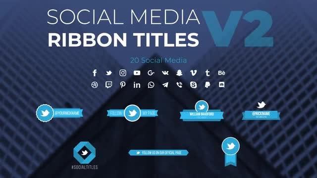 Social Media Ribbon Titles v2: Motion Graphics Templates